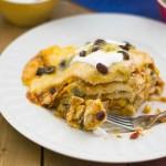How to make Crock Pot Chicken Enchilada Casserole via flouronmyface.com