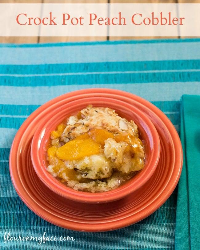 Crock Pot Peach Cobbler recipe via flouronmyface.com
