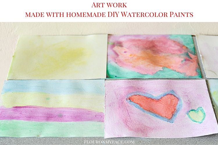art work made with bright homemade watercolor paints via