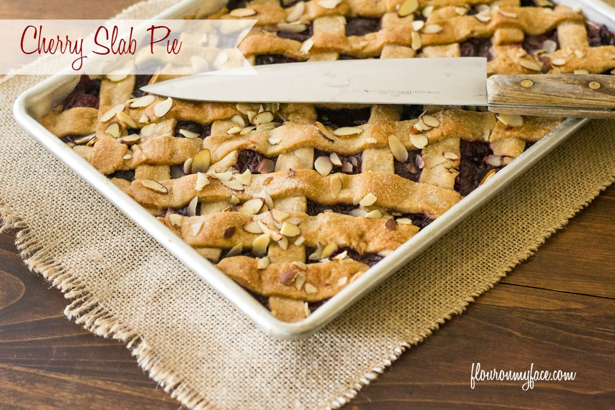Cherry Slab Pie recipe via flouronmyface.com