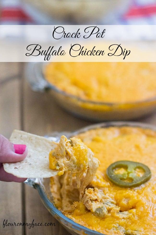 Crock Pot Buffalo Chicken Dip via flouronmyface makes a perfect 4th of July hot dip recipe
