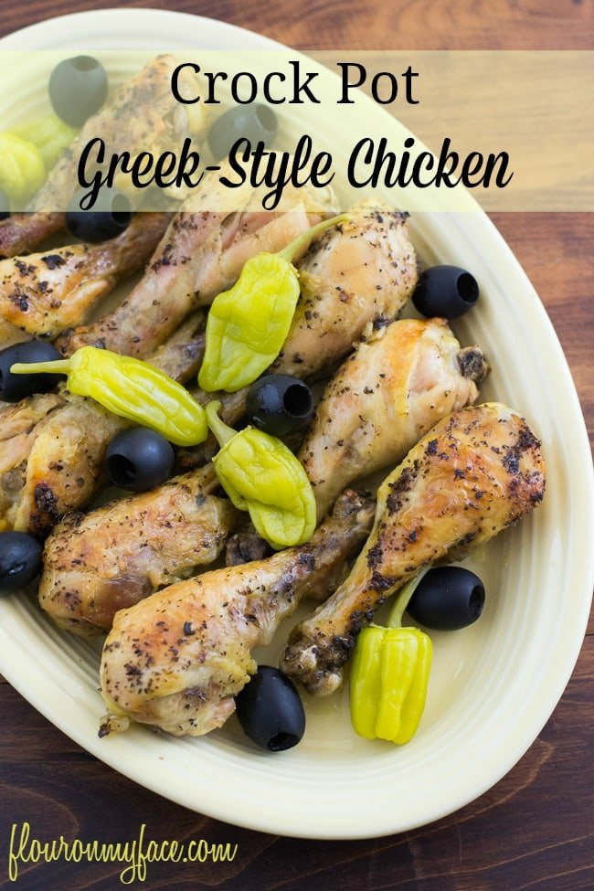 This weeks #CrockPotFriday recipe is for Greek-Style Chicken made in the crock pot via flouronmyface.com