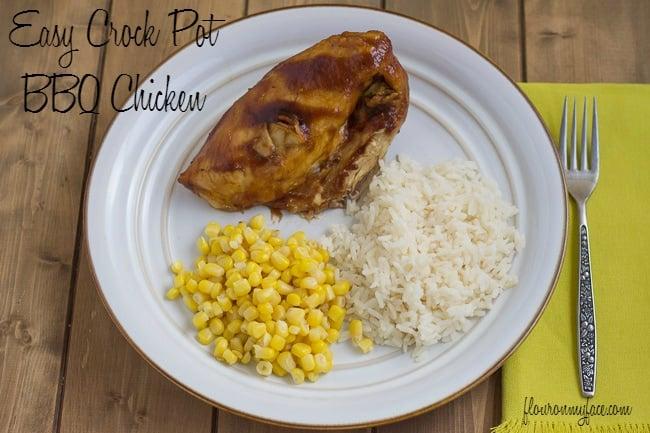 Easy Crock Pot BBQ Chicken via flouronmyface.com