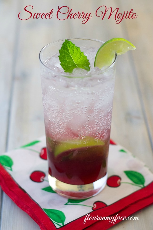 Layered Sweet Cherry Mojito recipe via flouronmyface.com