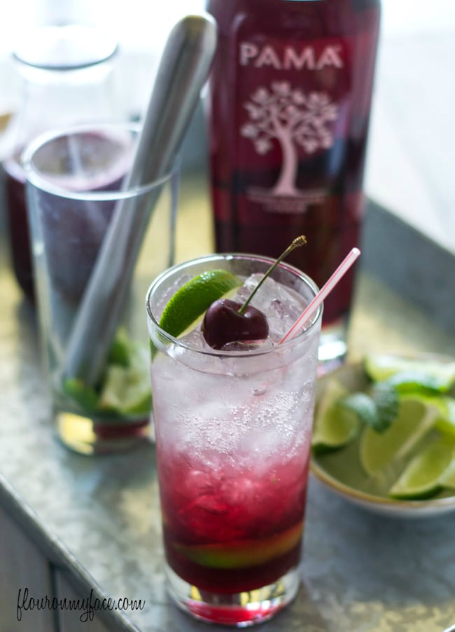 PAMA Pomegranate Cherry Mojito recipe via flouronmyface.com