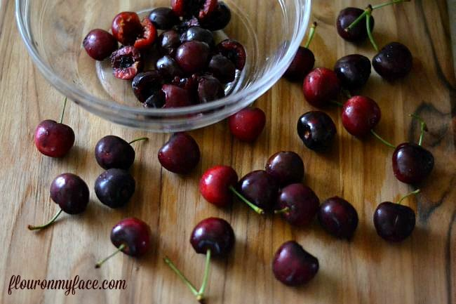 Pitting fresh cherries via flouronmyface.com