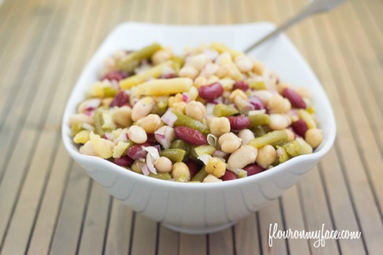 five bean salad recipe is a great vegetarian recipe  packed full of minereals and fiber via flouronmyface.com