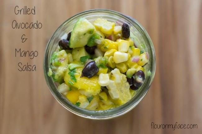 Grilled Avocado Mango Salsa recipe via flouronmyface.com
