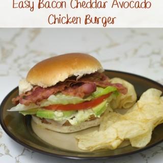 Easy Bacon Cheddar Avocado Chicken Burger via flouronmyface.com #shop