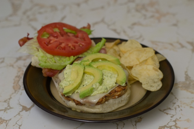 Bacon Cheddar Chicken Burger easy recipe via flouronmyface.com #shop