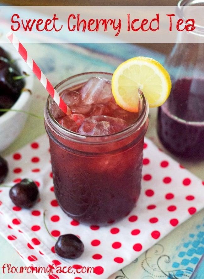 Sweet Cherry Iced Tea recipe via flouronmyface.com