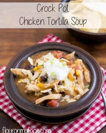 Crock Pot Chicken Tortilla Soup recipe via flouronmyface.com