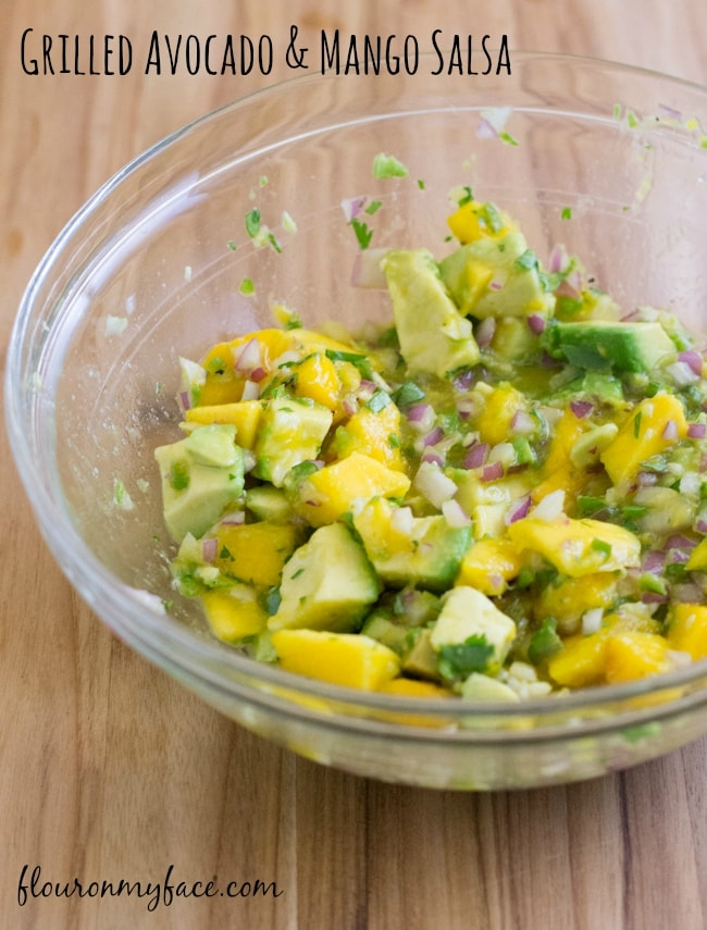 Grilled Avocado and Mango Salasa recipe via flouronmyface.com