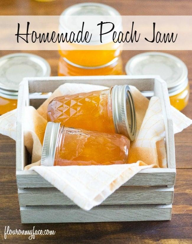 Homemade Peach Jam recipe via flouronmyface.com