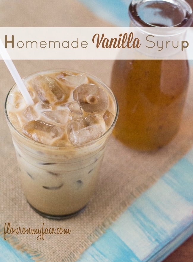 Homemade Coffee Syrup recipe for all your DIY Starbucks Vanilla syrup coffee drinks via flouronmyface.com