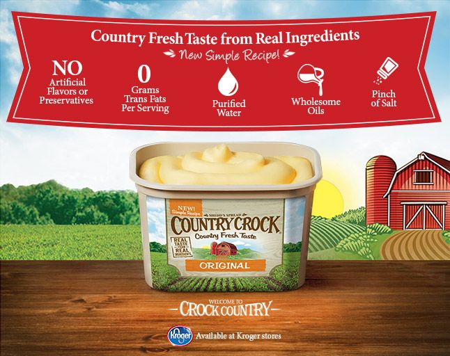 The new Country Crock available at Kroger Stores via flouronmyface.com