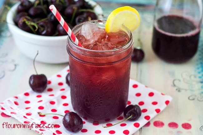 Sweet Cherry Iced Tea recipe via flouronmyface.com