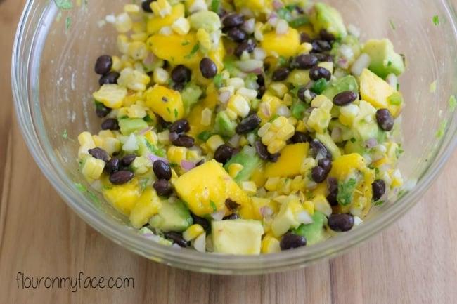Avocado Salsa ingredients via flouronmyface.com