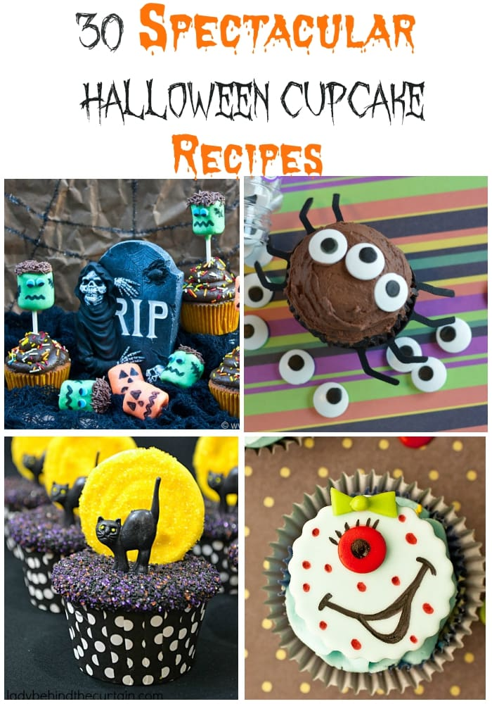 30 SPectacular Halloween Cupcake recipes via flouronmyface.com