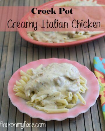 Crock Pot Creamy Italian Chicken Recipe via flouronmyface.com