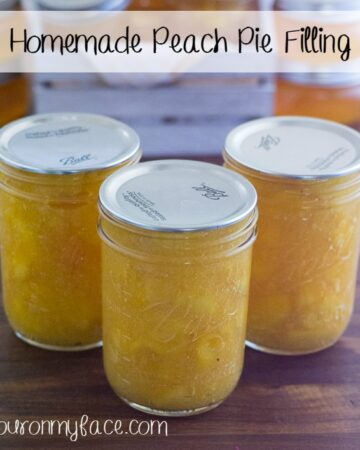 Homemade Peach Pie Filling via flouronmyface.com