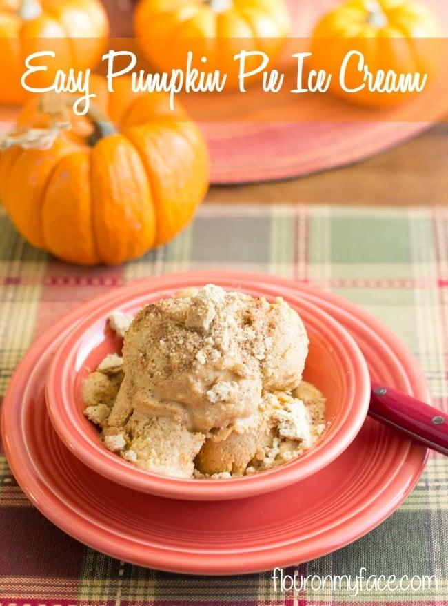 No Churn Pumpkin Pie Ice Cream recipe via flouronmyface.com