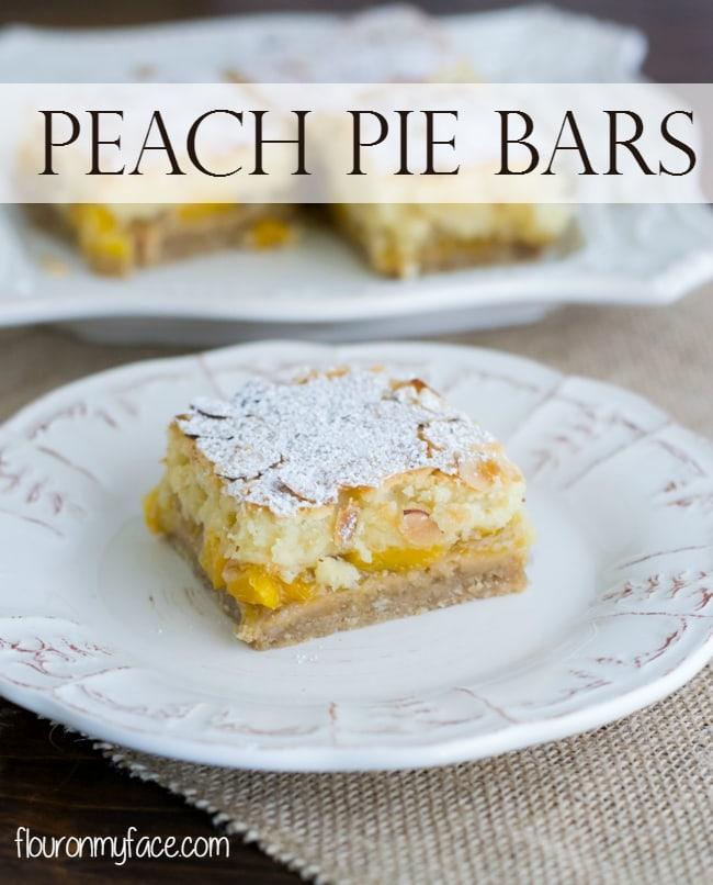 Peach Pie Bars recipe using homemade peach pie filling via flouronmyface.com