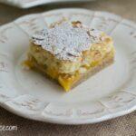 Peach Pie Bars recipe via flouronmyface.com