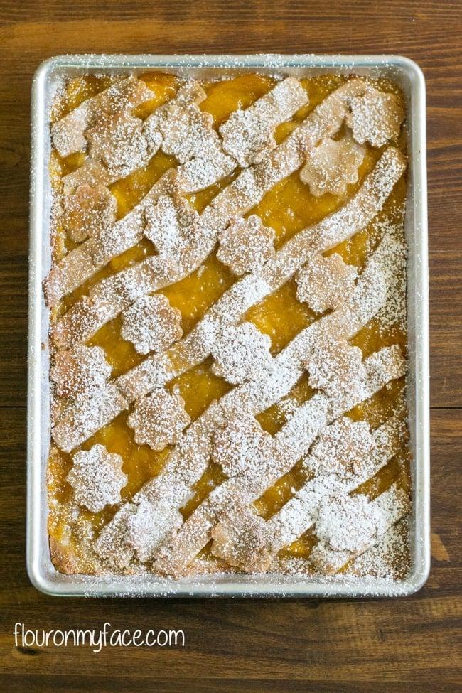 Peach Slab Pie recipe via flouronmyface.com