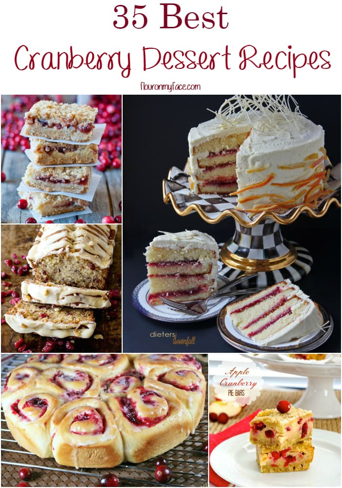 35 Best Cranberry Dessert recipes via flouronmyface.com