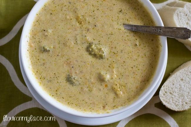 Broccoli Cheddar SOup recipe via flouronmyface.com