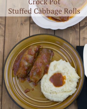 Crock Pot Stuffed Cabbage Rolls served with mashed potatoes.