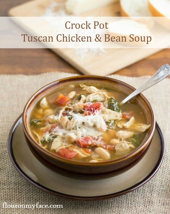 Crock Pot Tuscan Chicken Bean Soup recipe via flouronmyface.com #CrockPotFriday
