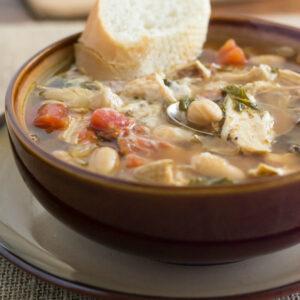 Crock Pot Tuscan Chicken SOup recipe via flouronmyface.com
