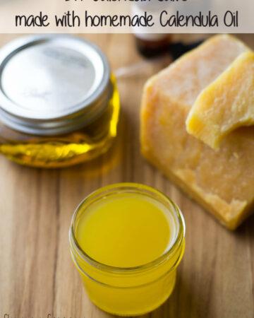 DIY Calendula Salve made with homemade calendula oil via flouronmyface.com
