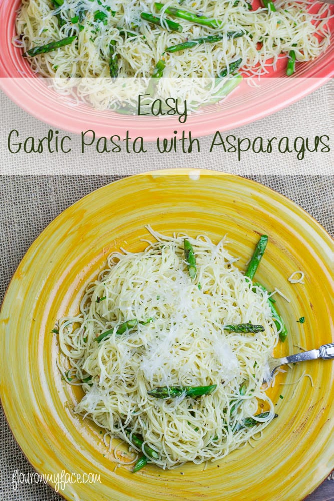 Easy Garlic Pasta with Asapargus recipe via flouronmyface.com