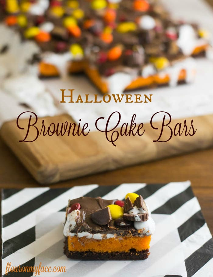 Halloween Gooey Brownie Cake Bars recipe via flouronmyface.com
