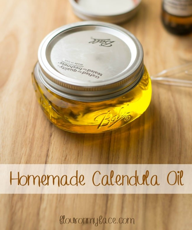 Make this Homemade Calendula Oil to use as a base oil for all your homemade herbal salves, lotions and lip balms via flouronmyface.com