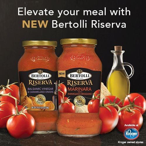 Bertolli Riserva Premium Pasta Sauce is available at Krogers via flouronmyface.com