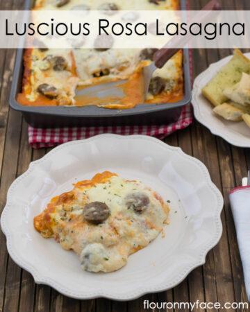 Luscious Rosa Lasagna recipe via flouronmyface.com