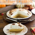 Easy No-Bake Pumpkin Pie recipe saves the day when your too busy during the holiday season to make a complicated dessert recipe via flouronmyface.com