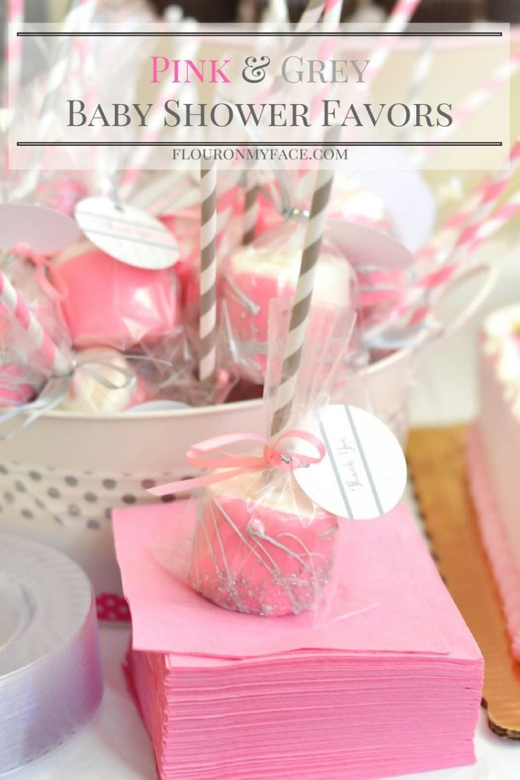 Easy Pink and Grey Baby Shower Favors- Chocolate Dipped Marshmallows make great party favors and are so easy to make and are cheap to make. via flouronmyface.com