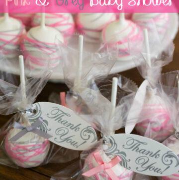 Pink and Grey Girl Baby Shower Theme Cake Pops via flouronmyface.com