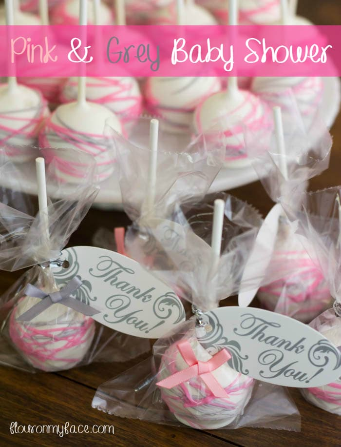 Pink and Grey Girl Baby Shower Theme Cake Pops via flouronmyface.com