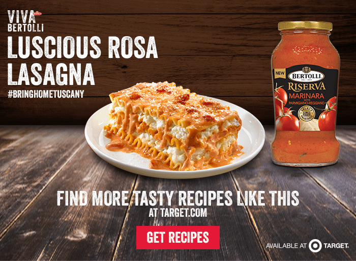 Luscious Rosa Lasagna recipe from Target and Bertolli via flouronmyface.com