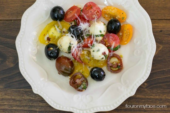 How to make a Tomato and Mozzarella Salad recipe via flouronmyface.com