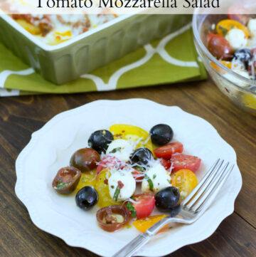 Fresh Tomato Mozzarella Salad on a salad plate