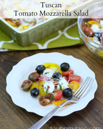 Fresh Tomato Mozzarella Salad on a salad plate