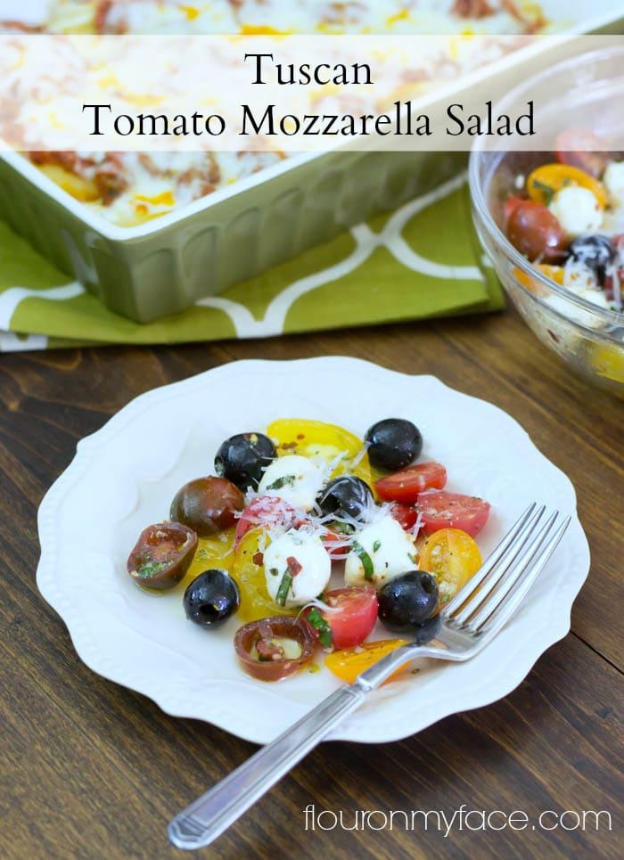 Tuscan Tomato Mozzarella Salad recipe via flouronmyface.com