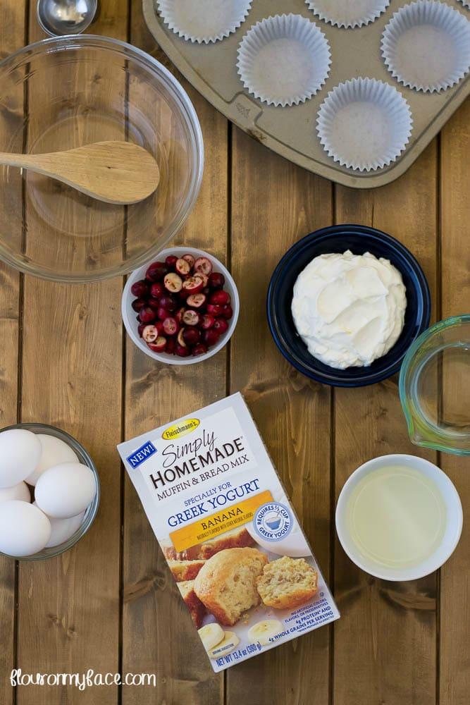Banana Cranberry Muffins via flouronmyface.com